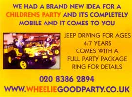 jeep driving for childrens parties comes with a full party package